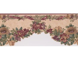 Prepasted Wallpaper Borders - Red Bird Nest And Flowers Wall Paper Border