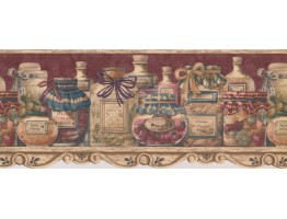 Prepasted Wallpaper Borders - Brown Condiments In Jar Wall Paper Border