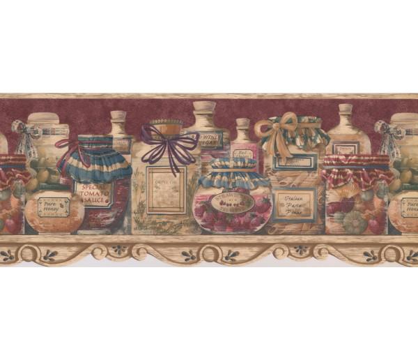 Kitchen Wallpaper Borders: Brown Condiments In Jar Wallpaper Border