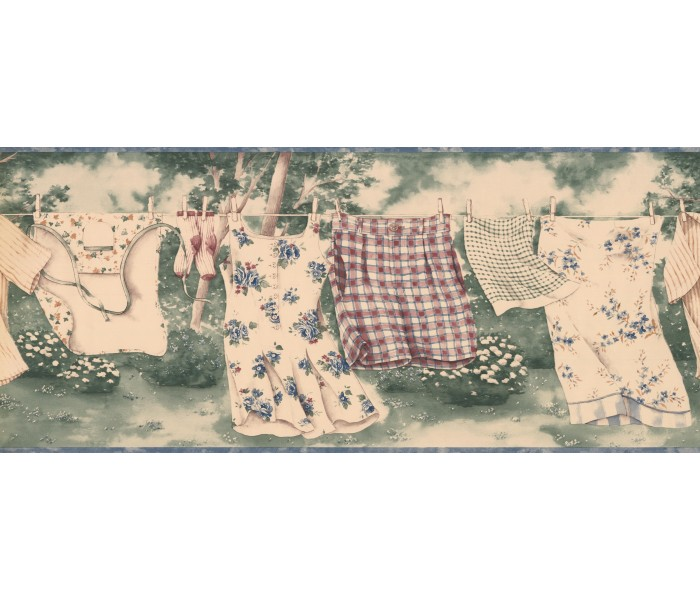 Laundry Wallpaper Borders: Hanging Skirt Shorts Wallpaper Border