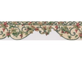 Prepasted Wallpaper Borders - Red Grapes Floral Wall Paper Border