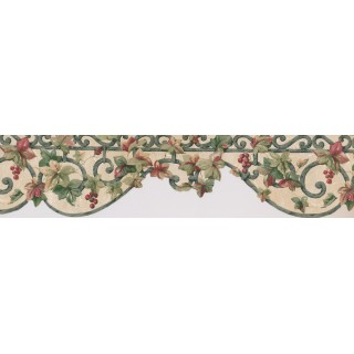 7 in x 15 ft Prepasted Wallpaper Borders - Red Grapes Floral Wall Paper Border