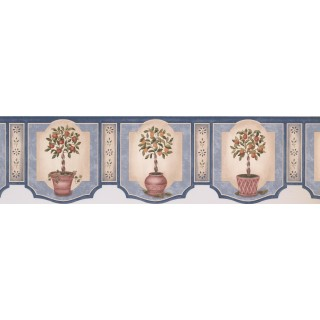 7 in x 15 ft Prepasted Wallpaper Borders - Twin Orange Plant Chart Wall Paper Border