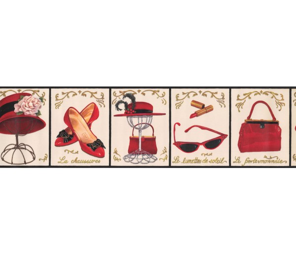 Novelty Borders Red Ladies Caps Wallpaper Border York Wallcoverings