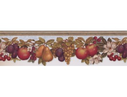 Prepasted Wallpaper Borders - MULTIPLE FRUIT WITH LIGHT BLUE Wall Paper Borderr