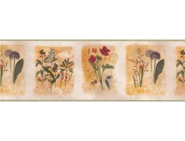 Framed Gardened Red Flower Wallpaper Border