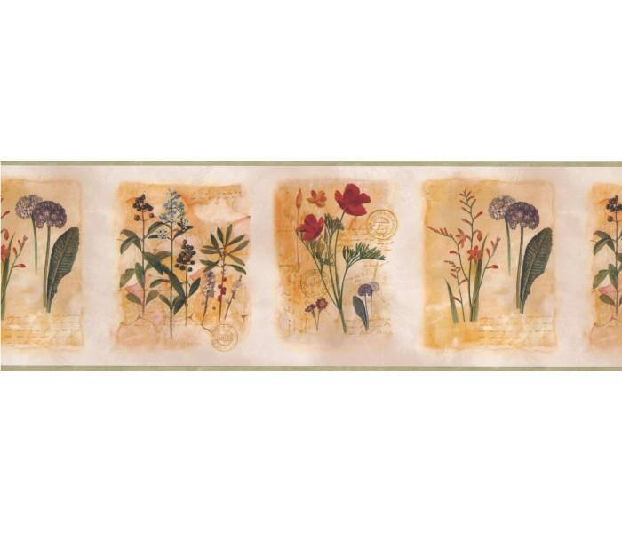 Garden Wallpaper Borders: Framed Gardened Red Flower Wallpaper Border