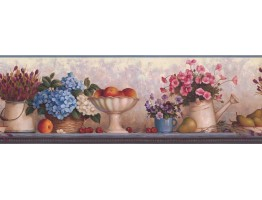 Prepasted Wallpaper Borders - Blue Pink Florwer Bunch Wall Paper Border