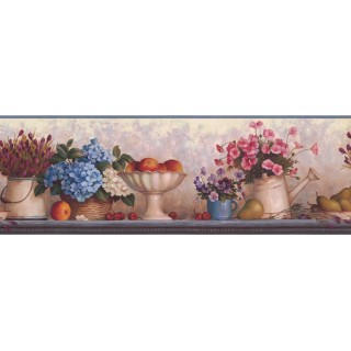 8 in x 15 ft Prepasted Wallpaper Borders - Blue Pink Florwer Bunch Wall Paper Border