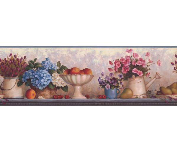 Garden Borders Blue Pink Florwer Bunch Wallpaper Border