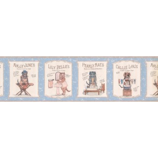 7 in x 15 ft Prepasted Wallpaper Borders - Kids Rhymes Blue Wall Paper Border