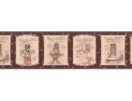 Prepasted Wallpaper Borders - Kids Rhymes Brown Wall Paper Border