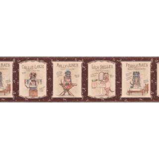 7 in x 15 ft Prepasted Wallpaper Borders - Kids Rhymes Brown Wall Paper Border