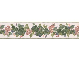 5 in x 15 ft Prepasted Wallpaper Borders - Red Blue Grape Plant Wall Paper Border