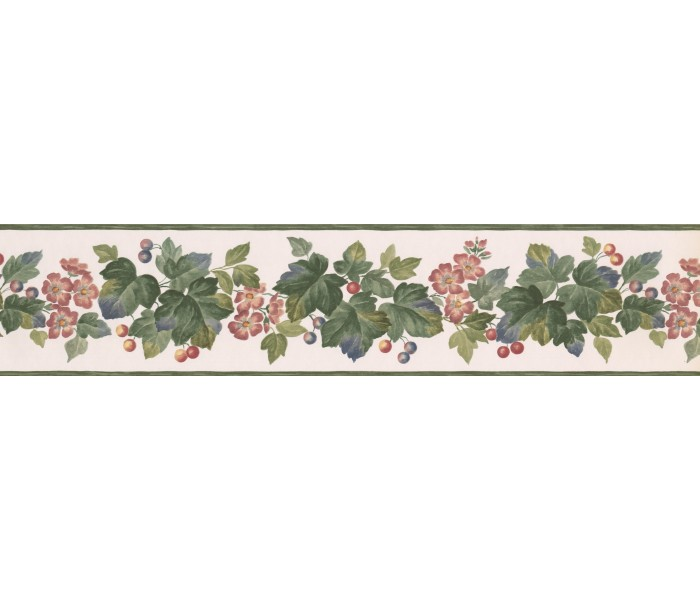 Clearance: Red Blue Grape Plant Wallpaper Border
