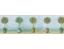 Prepasted Wallpaper Borders - Light Blue Cream Apple Tree Pots Wall Paper Border