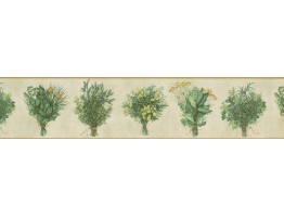 Prepasted Wallpaper Borders - White Green Bunch plant Wall Paper Border
