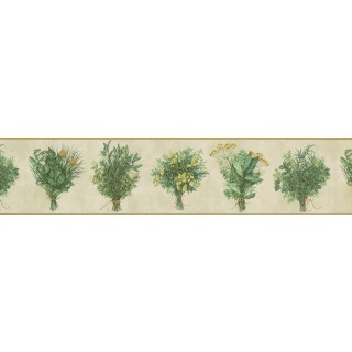5 in x 15 ft Prepasted Wallpaper Borders - White Green Bunch plant Wall Paper Border