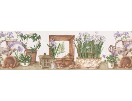 Prepasted Wallpaper Borders - White Lilac Flower Pots Wall Paper Border