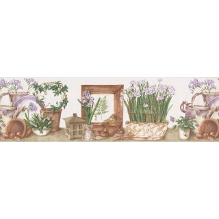 7 in x 15 ft Prepasted Wallpaper Borders - White Lilac Flower Pots Wall Paper Border