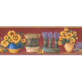 Sunflower Wallpaper Borders: Red Yellow Sunflower Pot Floral Wallpaper Border