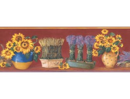Prepasted Wallpaper Borders - Red Yellow Sunflower Pot Floral Wall Paper Border