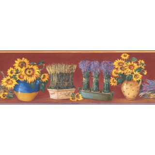6 1/2 in x 15 ft Prepasted Wallpaper Borders - Red Yellow Sunflower Pot Floral Wall Paper Border