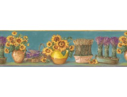 Light Blue Yellow Sunflower Pots Wallpaper Border