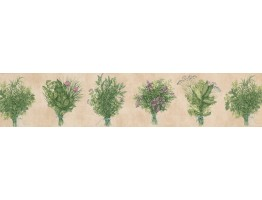 Prepasted Wallpaper Borders - Pink Green Bunch plant Wall Paper Border