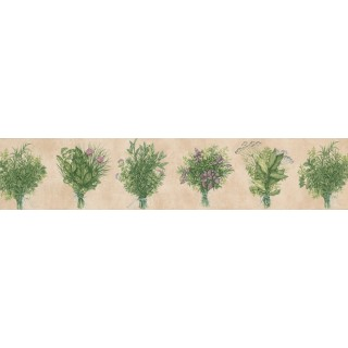 5 in x 15 ft Prepasted Wallpaper Borders - Pink Green Bunch plant Wall Paper Border