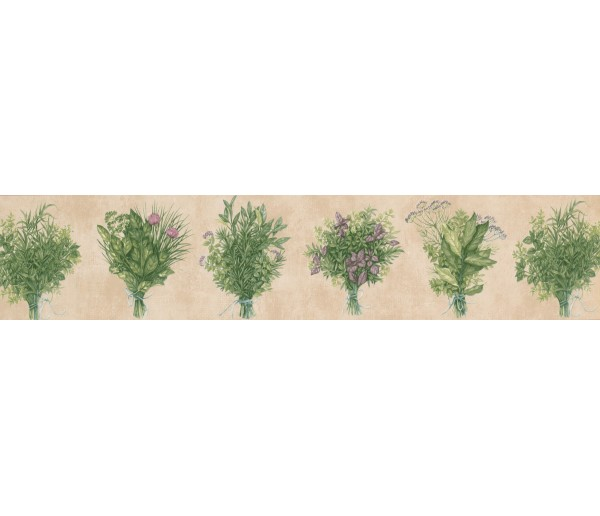 Garden Wallpaper Borders: Pink Green Bunch plant Wallpaper Border