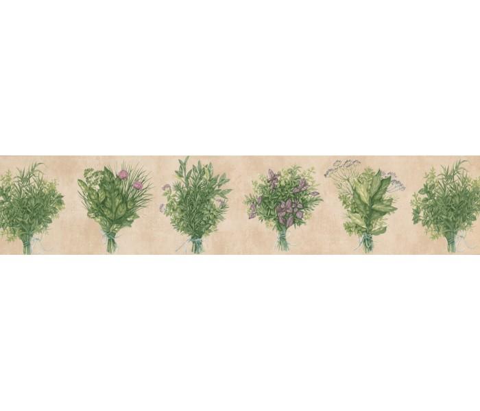 Garden Wallpaper Borders: Pink Green Bunch plant Wallpaper Border
