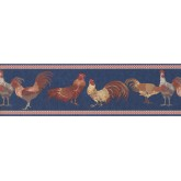 Clearance Red Blue Roosters Wallpaper Border York Wallcoverings