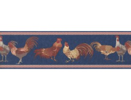 Prepasted Wallpaper Borders - Red Blue Roosters Wall Paper Border
