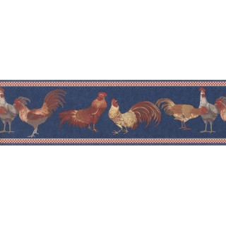 7 in x 15 ft Prepasted Wallpaper Borders - Red Blue Roosters Wall Paper Border