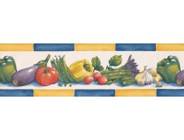 Prepasted Wallpaper Borders - Yellow Blue Eggplant Radish Wall Paper Border