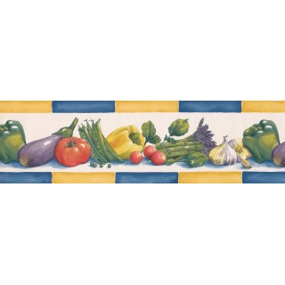 6 1/2 in x 15 ft Prepasted Wallpaper Borders - Yellow Blue Eggplant Radish Wall Paper Border
