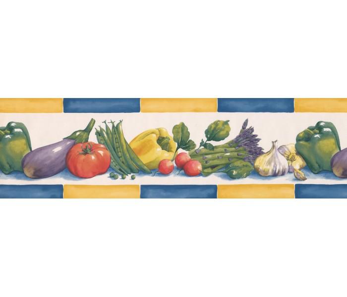 Garden Wallpaper Borders: Yellow Blue Eggplant Radish Wallpaper Border