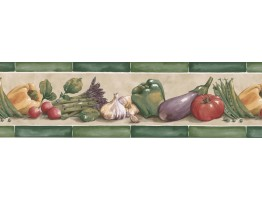 Prepasted Wallpaper Borders - Vegetables Wall Paper Border KE30070