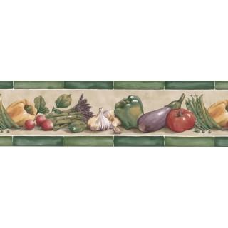 7 in x 15 ft Prepasted Wallpaper Borders - Vegetables Wall Paper Border KE30070