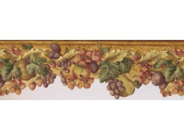 Prepasted Wallpaper Borders - Yellow Background Tropical Fruits Wall Paper Border