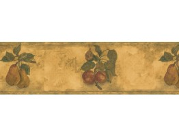 7 in x 15 ft Prepasted Wallpaper Borders - Red Peach Plant Wall Paper Border