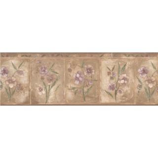 7 1/2 in x 15 ft Prepasted Wallpaper Borders - Brown Purple Primrose Floral Wall Paper Border