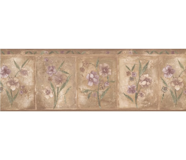Floral Borders Brown Purple Primrose Floral Wallpaper Border