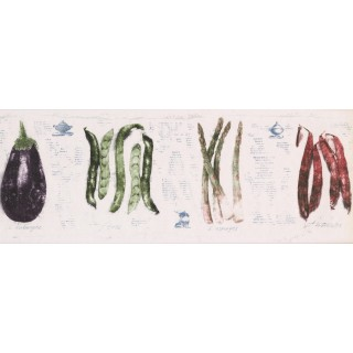 8 1/2 in x 15 ft Prepasted Wallpaper Borders - White Eggplant Beans Wall Paper Border
