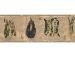 Prepasted Wallpaper Borders - Beige Green Beans Asparagus Wall Paper Border