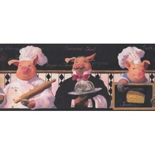 10 in x 15 ft Prepasted Wallpaper Borders - Piggy Restaurant Wall Paper Border