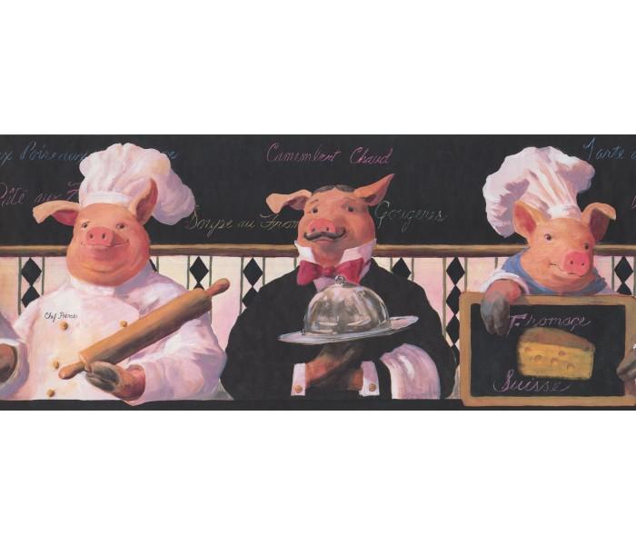 Kitchen Wallpaper Borders: Piggy Restaurant Wallpaper Border