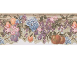 6 3/4 in x 15 ft Prepasted Wallpaper Borders - Off White Fruits Flowers Wall Paper Border