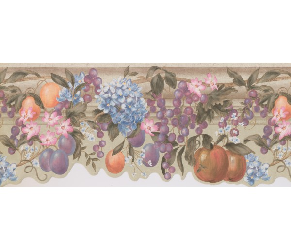 Garden Wallpaper Borders: Off White Fruits Flowers Wallpaper Border